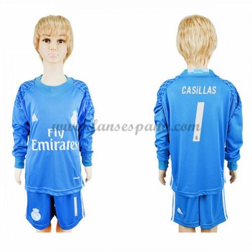 Camisetas Futbol Niños Real Madrid Casillas 1 Portero Primera Equipación  Manga Larga 2016-17 ffa751414280d