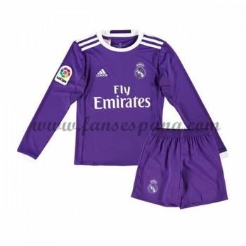 Camisetas Futbol Niños Real Madrid Segunda Equipación Manga Larga 2016-17
