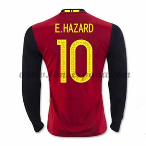 99b37fae Camisetas De Futbol Barata Bélgica 2016 E. Hazard 10 Primera Equipación  Manga Larga