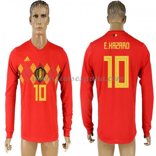 6f26b4c0 Camisetas De Futbol Baratas Bélgica 2018 Eden Hazard 10 Primera Equipación  Manga Larga