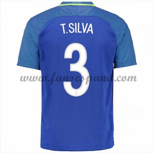 Camisetas De Futbol Barata Brasil 2016 Thiago Silva 3 Segunda Equipación 69851601c2976