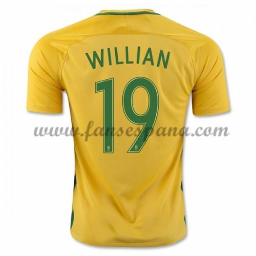 Camisetas De Futbol Barata Brasil 2016 Willian Borges da Silva 19 Primera  Equipación df0dc465b0e7c