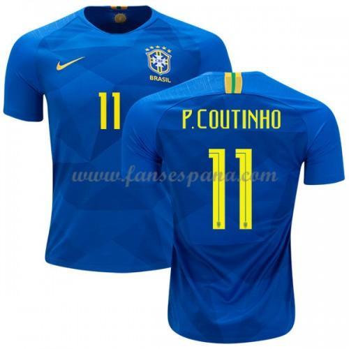 Camisetas De Futbol Baratas Brasil 2018 Philippe Coutinho 11 Segunda  Equipación 49e7755b6dd87