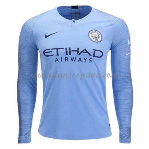 Camisetas De Futbol Manchester City Primera Equipación Manga Larga 2018-19 9642e20d1091e