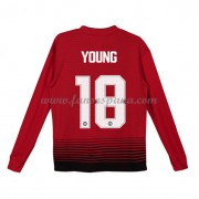 Camisetas De Futbol Niños Manchester United Ashley Young 18 Primera Equipación Manga Larga 2018-19..