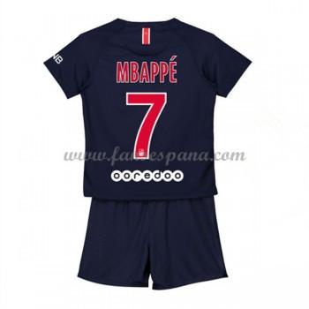 Camisetas De Futbol Niños Paris Saint Germain PSG Kylian Mbappé 7 Primera Equipación 2018-19