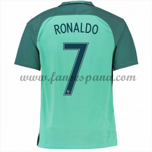 4e3a8afeed870 Camisetas De Futbol Barata Portugal 2016 Cristiano Ronaldo 7 Segunda  Equipación