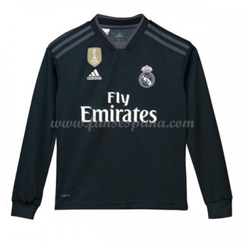 3d9d93a4c1347 Camisetas De Futbol Niños Real Madrid Segunda Equipación Manga Larga 2018-19
