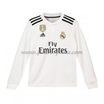 Camisetas De Futbol Niños Real Madrid Primera Equipación Manga Larga 2018-19