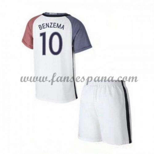 Camisetas Futbol Niños Francia Karim Benzema 10 Segunda Equipación 2016-17 d62ad85e51ba0