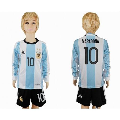 c5e93e7a91 Camisetas Futbol Niños Argentina Lionel Messi 10 Primera Equipación Manga  Larga 2016-17