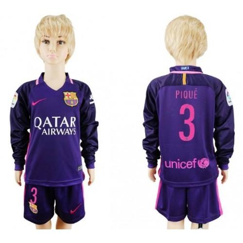 Camisetas Futbol Niños Barcelona Pique 3 Segunda Equipación Manga Larga  2016-17 7e767705af568